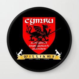 Williams Family Cymru/Wales Coat of Arms Wall Clock