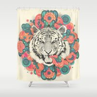mandala Shower Curtains featuring bengal mandala by Laura Graves