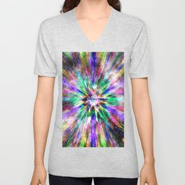 Abstract Spectral Tie Dye Unisex V-Neck