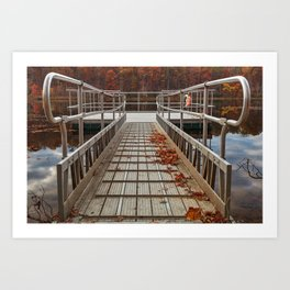 Autumn Lake Boardwalk Art Print