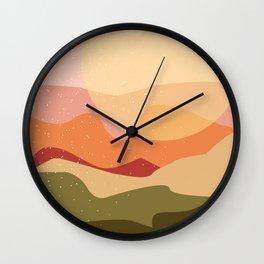 minimalist coral landscape Wall Clock