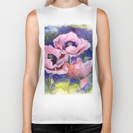 Watercolor Poppies Flowers Art Biker Tank