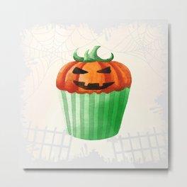 Halloween Cupcake with Pumpkin Decoration Metal Print