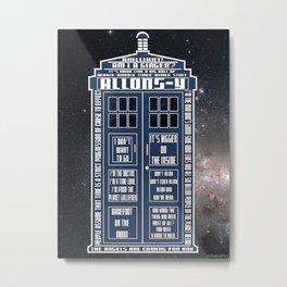 Doctor Who - Tardis Typography Metal Print