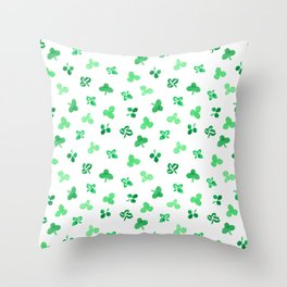 Clover Leaves on White Pattern Throw Pillow