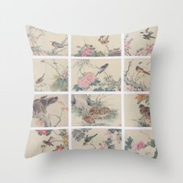 Chinese painting Birds Flowers Throw Pillow