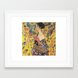 Gustav Klimt Lady With Fan  Art Nouveau Painting Framed Art Print