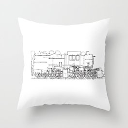 Sketchy train art Throw Pillow