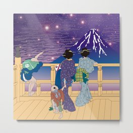 Hokusai People Seeing Mt. Fuji under the Stars Metal Print