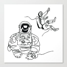 Astronauts in space, continuous line drawing Canvas Print