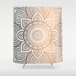 Gold Bronze Mandala Pattern Illustration Shower Curtain