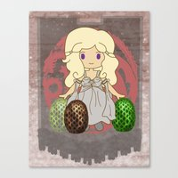 mother of dragons Canvas Prints featuring Mother of Dragons by Cosmic Lab Creations