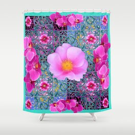 AQUA PINK ROSES & ORCHIDS GREEN-BLACK ART Shower Curtain