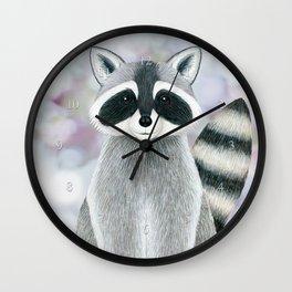 raccoon woodland animal portrait Wall Clock