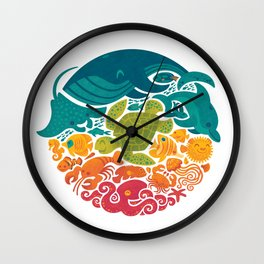 Aquatic Rainbow (white) Wall Clock