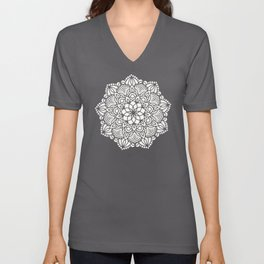 Seashell Mandala Coral Pink and White by Nature Magick Unisex V-Neck