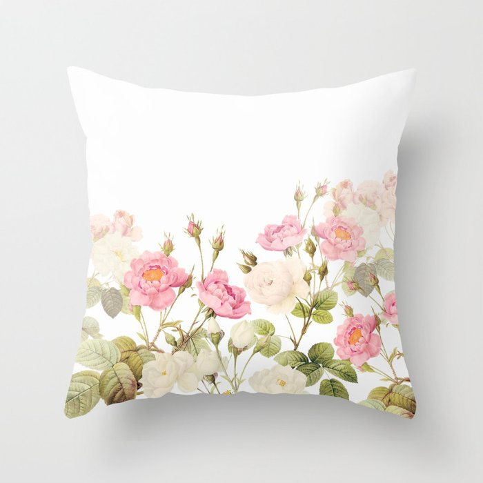 Vintage Shabby Chic Sepia Roses Garden Throw Pillow By