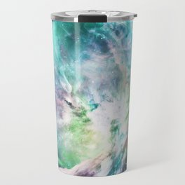 Abstract teal pink cosmic nebula space galaxy Travel Mug