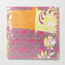 Crayon Bright Rose Pink Collage Love Metal Print