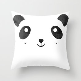 Panda, black and white panda face Throw Pillow