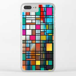Abstract Modern Art Grid Pattern Clear iPhone Case