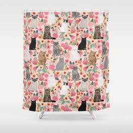 Cat floral mixed breeds of cats gifts for pet lovers cat ladies florals Shower Curtain