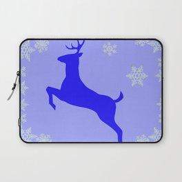 DECORATIVE LEAPING CHRISTMAS  BLUE DEER & SNOWFLAKES Laptop Sleeve