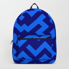 Brandeis Blue and Navy Blue Diagonal Labyrinth Backpack