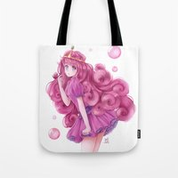 princess bubblegum Tote Bags featuring Princess Bubblegum by NaiLyn