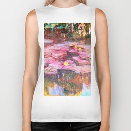 Water Lilies monet 1917 enhanced Biker Tank