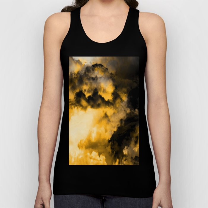Vitality - Cloudy Abstract In Orange And Black Unisex Tank Top