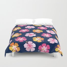 CANDY COLORED HIBISCUS on NAVY Duvet Cover