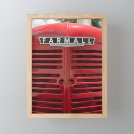 Vintage Farmall M Grill Antique Red Tractor Framed Mini Art Print