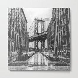 DUMBO, Brooklyn NY Black and White Metal Print