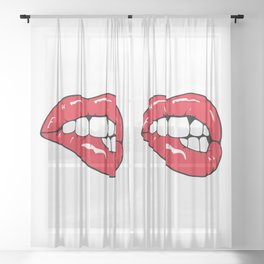 Red Lips Pop art Sheer Curtain