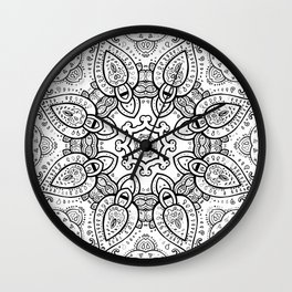 White Gray Black Paisley Mandala Wall Clock