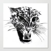 snow leopard Canvas Prints featuring Snow Leopard by pbnevins