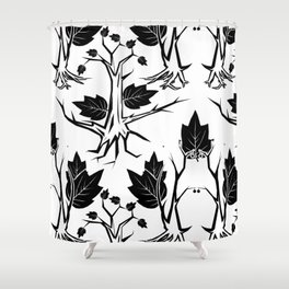 Pattern tree black Shower Curtain