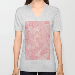 Blush pink abstract watercolor marble pattern Unisex V-Neck