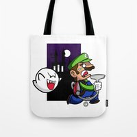 haunted mansion Tote Bags featuring Haunted Mansion by phiROLL Art & Design