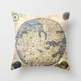 Fra Mauro world map (15th century) Throw Pillow