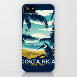 Costa Rica Retro Vintage Travel Poster Toucan Wave Surf Palm Trees iPhone Case