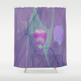 Heart Art- Abstract Art- Now or Later- Pink Heart- Purple Heart-Green-Pattern Art- Sacred Geometry Shower Curtain