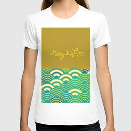 Seigaiha or seigainami literally means wave of the sea. Merry Christmas card T-shirt