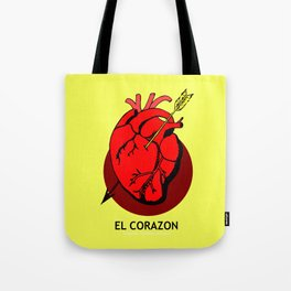 El Corazon Mexican Loteria Pop Art Tote Bag