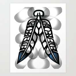 Heiltsuk Eagle & Raven Feathers Art Print
