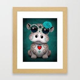 Blue Day of the Dead Sugar Skull Hippo Baby Framed Art Print