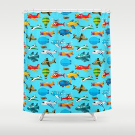 Cute Airplanes Helicopters Airships  Pattern Shower Curtain