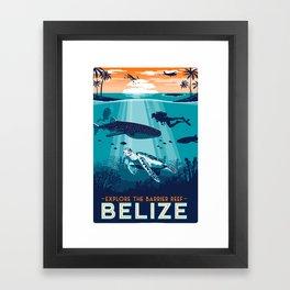 Belize Travel poster vintage tropical reef Framed Art Print