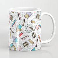 toddler Mugs featuring Modern Memphis Inspired Geometric Gold Pattern by Season of Victory